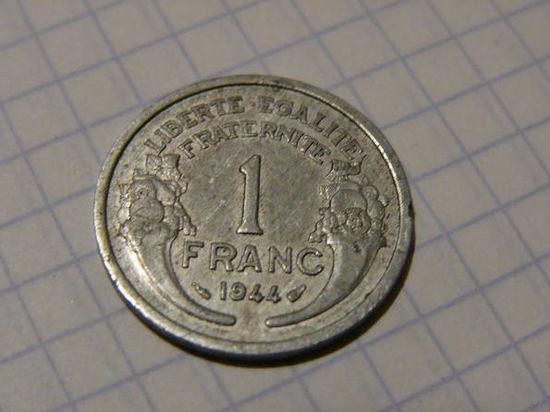 1 Франк 1944 года, оккупационный режим, соостность 180