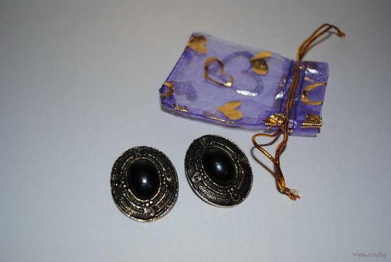 """Клипсы женские_""""Винтажные""""_В готическом стиле с натуральным чёрным камнем-Агатом-Сидят хорошо, не сползают и не тяжелят;)_+Подарочный мешочек идёт к ним в подарок:)_!"""