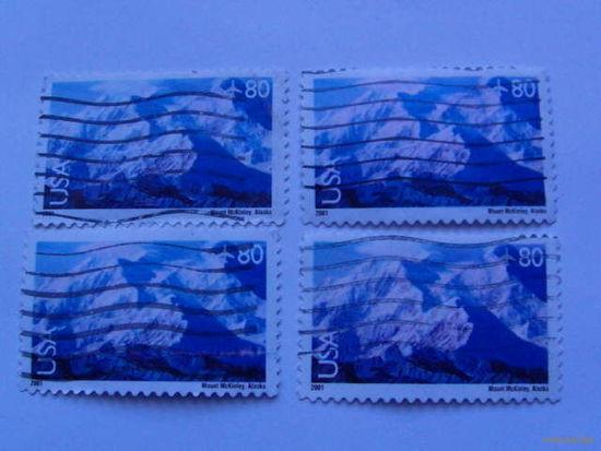 США марки Аляска, горы. 80 цент   4 шт   распродажа
