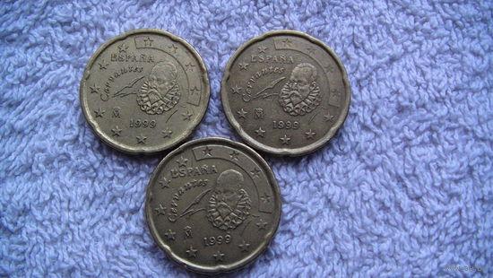 Испания 20 евроцентов 1999г.  распродажа