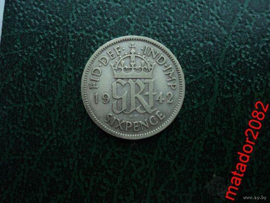 6 пенсов 1942 Георг VI