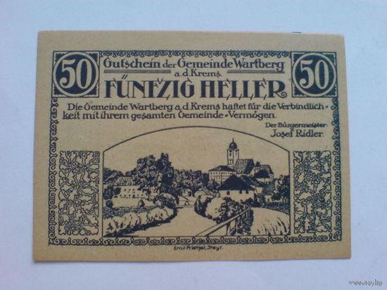 Австрия 50 геллер 1921г. нотхельд   распродажа
