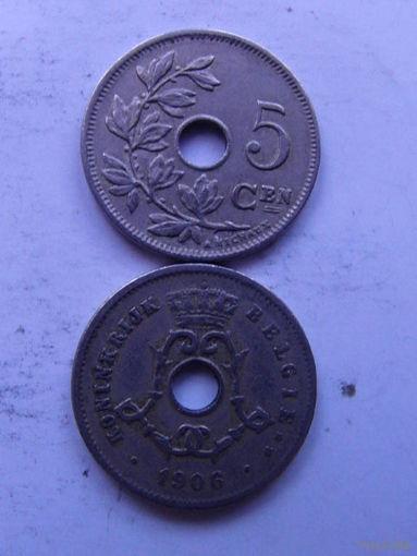 Бельгия. 5 сентимос 1906г. распродажа