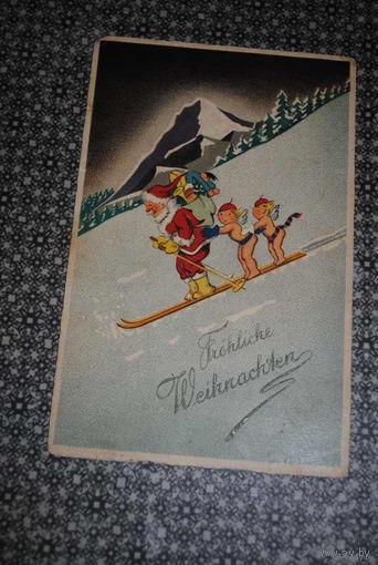 """Старинная открытка: """"С Новым Годом!"""" Прикольная;) - моя коллекция до 1930 года - антикварная редкость-!"""
