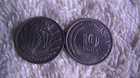Сингапур 10 центов 1977г. (морской конёк) распродажа
