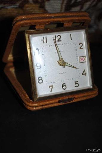 Рабочие дорожные часы EUROPA - 7 JEWELS - In Germany, Case made - точность хода не проверяла., но будильник срабатывает-!