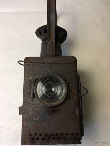Редкий интересный железнодорожный керосиновый фонарь с непонятным клеймом.