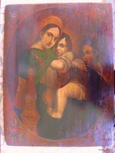 """Икона 19 век, - дерево/масло: """"Мадонна с Младенцем"""", - в стиле эпохи возрождения под Мадонну Рафаэля; После реставрации!"""