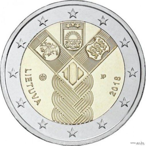 2 евро 2018 Литва 100 лет государствам Балтики UNC из ролла