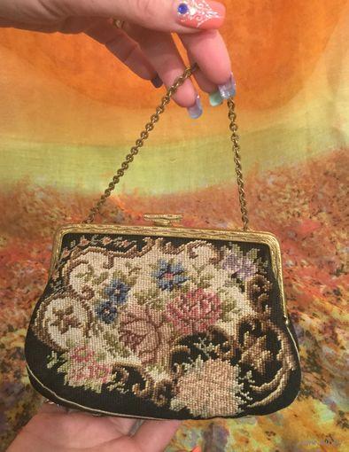 Сумочка винтажная Mon Plaisir, ручная вышивка. Германия, ХХ век