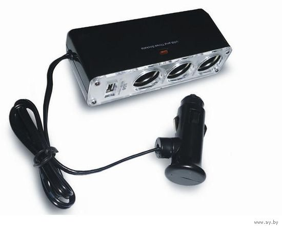 Разветвитель прикуривателя 12/24 (на 3 выхода+USB) AVS CS313U.!