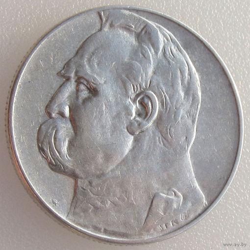 Польша, 5 злотых/ 5 Zlotych 1935 года, Юзеф Пилсудский, Y#28, серебро 750 пробы/ 11 г
