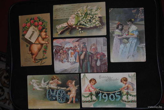 """Сборная серия старинных открыток, по теме: """"ПРАЗДНИКИ"""" - моя коллекция до 1917 года - антикварная редкость - цена за всё, что на фото, по отдельности пока не продаю-!"""