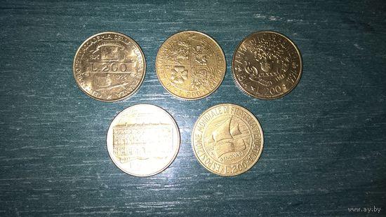 Италия . 200 лир - 1990, 1992, 1993, 1994, 1996 (Юбилейные).