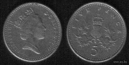 5 пенсов 1990 год Великобритания Очень круглая
