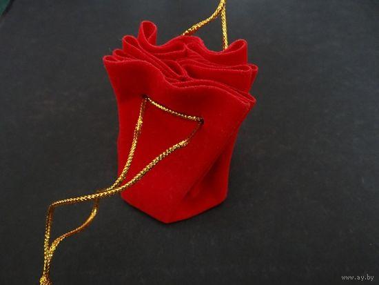 Мешочек для украшения монеты красный бархат
