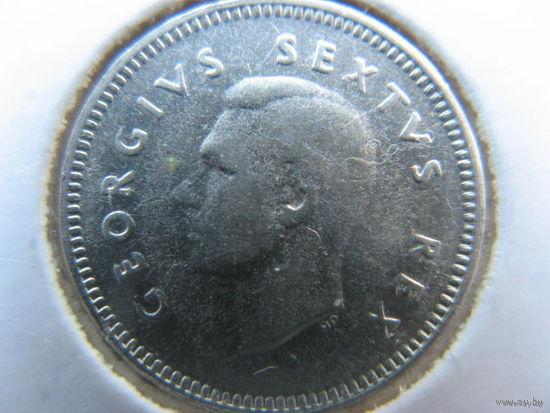 Южная Африка 3 пенса 1951 г. серебро