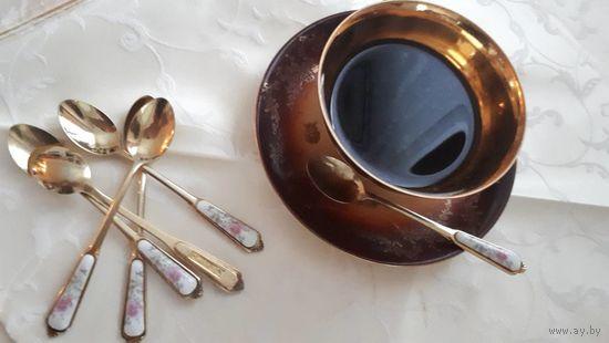 Позолоченные кофейные ложечки 6 штук с фарфоровыми вставками Европа
