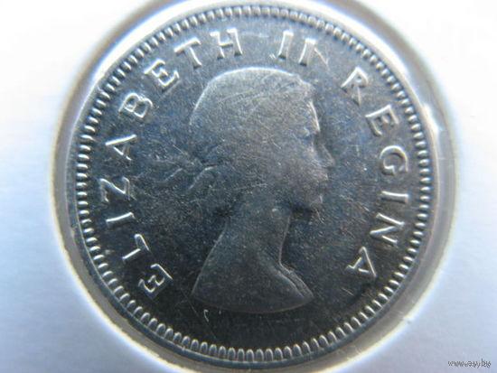 Южная Африка 3 пенса 1955 г. серебро