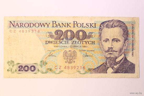 Польша, 200 злотых 1986 год. - Редкий год -