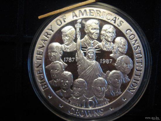 200-летие Конституции США, серебро 10 унций. Остров МЭН; Возм обмен