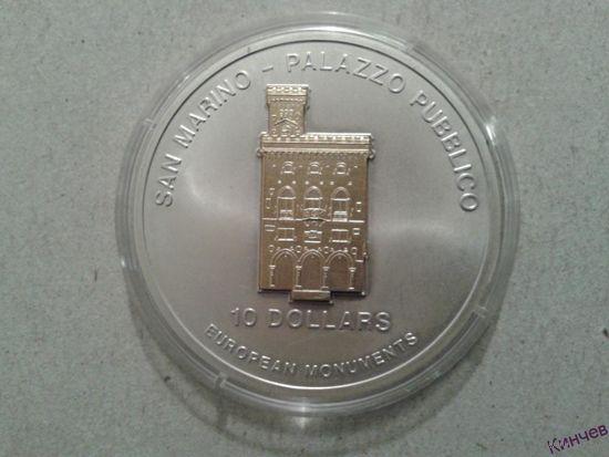 10 долларов Науру 2005 год-Сан-Марино. Серебро 3D