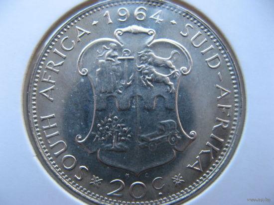 ЮАР 20 центов 1964 г. серебро