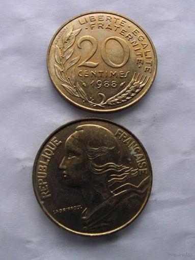 Франция 20 сантим 1988г.  распродажа