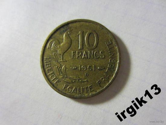 10 франков 1951 г. Франция.