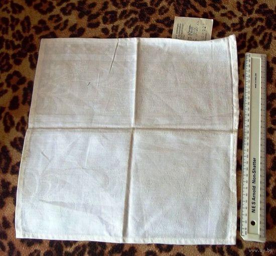 Белая льняная салфетка 34 х 34. Новая, с этикеткой, выпущена в БССР