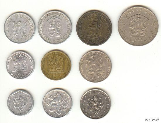 Набор монеты Чехословакии и Чехии