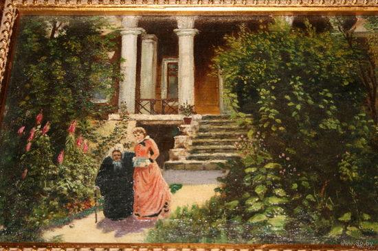 Картина масло холст старая деревянная рама