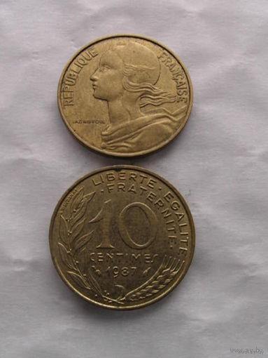 Франция 10 сантимов 1987г. распродажа