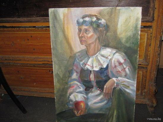 Картина.Женщина с яблоком.Р-р85х65см.ДВП.