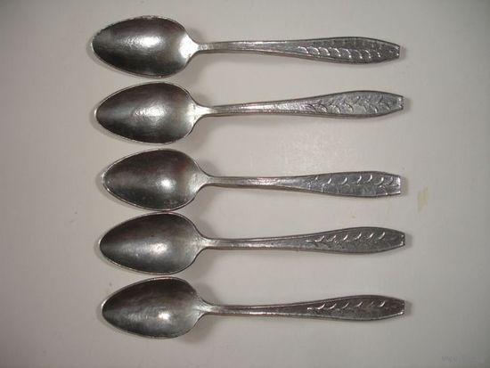 Ложки алюминиевые чайные винтаж 5 шт СССР