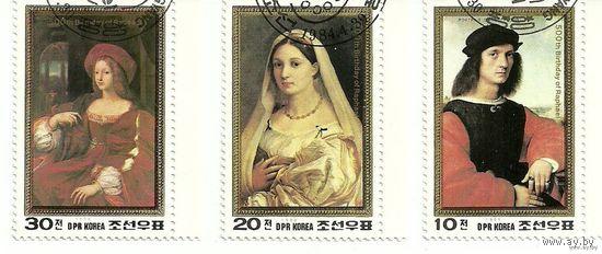 Живопись. 500 лет со дня рождения Рафаэля. КНДР  1984 г. (Корея)