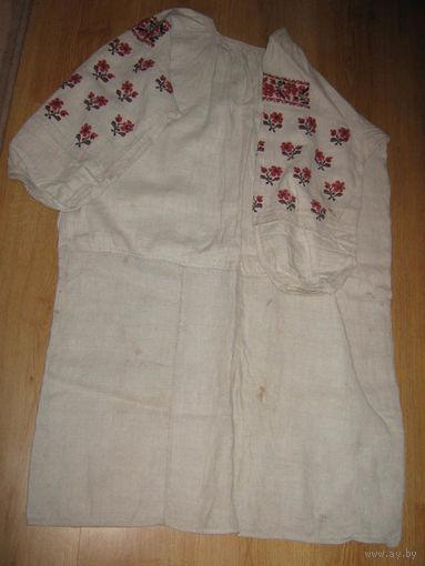 Рубаха100%-льняная,вышева ная,женская-СТАРИННАЯ-Кон ец-XIX-века.Размер-44.СЛА ВЯНСКАЯ.