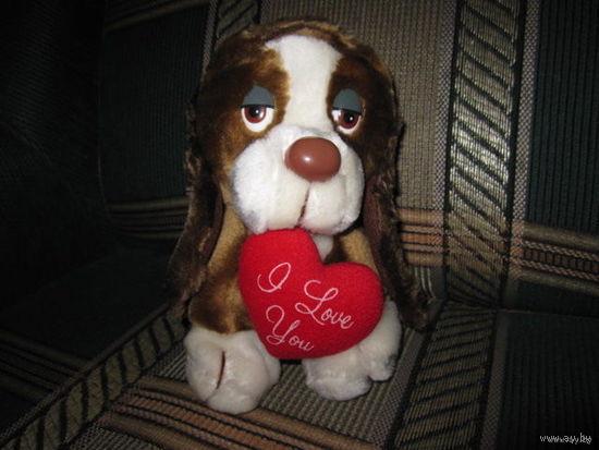 """Мягкая игрушка от Russ Berrie!!! Персонаж Baxter Dog Puppy с валентинкой """"I Love You"""""""