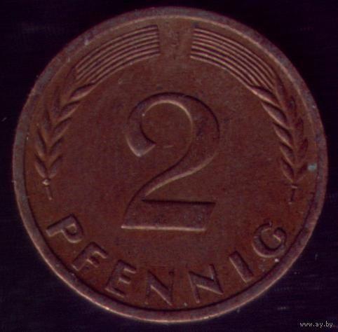 2 пфеннига 1962 год ФРГ J