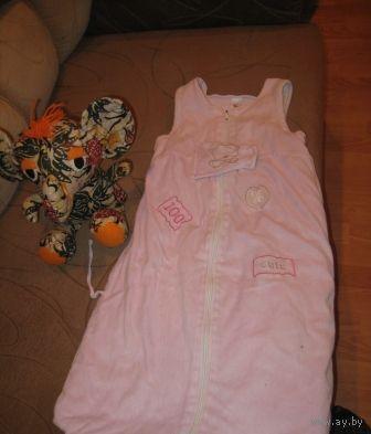 Комплект розовый для коляски на улице и дома в постели  от 0-3 лет