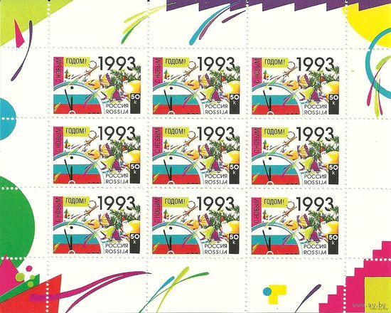 С новым годом 1993 Малый лист Россия