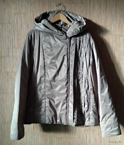 Куртка бежевая/серая женская демисезонная с капюшоном