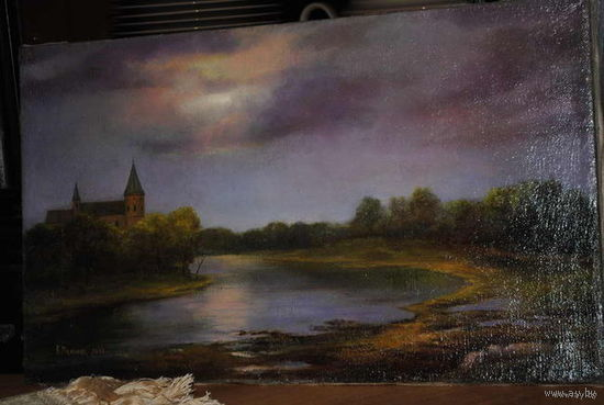 """Картина: """"Замок в долине"""". Автор картины - Мельник К. Техника - Холст, масло, продаётся без рамы., - как на фото., - Формат картины., - 50,5 x 30,5 см."""