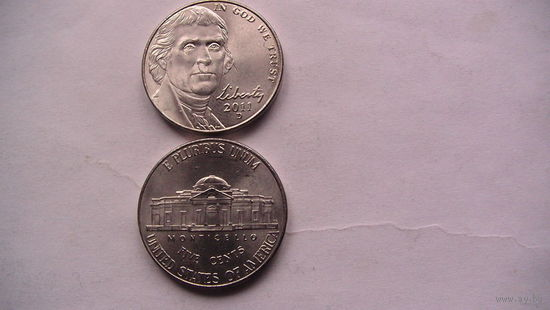 """Коллекция = США ,5 центов """"Томас Джефферсон"""", 2011 D.Серия пятицентовых монет, посвященных 200-летию освоения Запада (Westward Journey Nickel Series).  распродажа"""