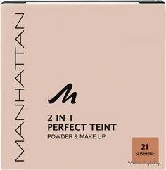 Профессиональная ПУДРА+КРЕМ Manhattan Perfect Teint 2 in 1 Powder & Make Up оттенок 21 Sunbeige