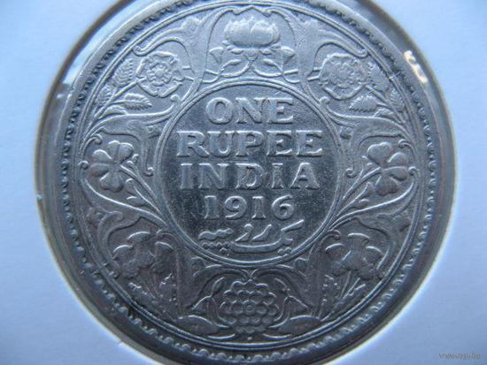 Британская Индия 1 рупия 1916г. Георг V Серебро