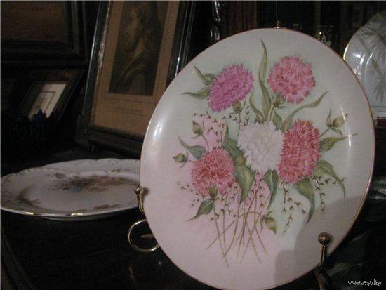 Тарелка антиквариат гвоздики ручная роспись Бавария