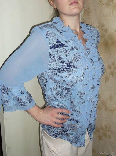 Лёгкая, воздушная блузка с красивым рисунком и рюшами, р.48-50