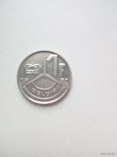 1 франк 1991г. Бельгия