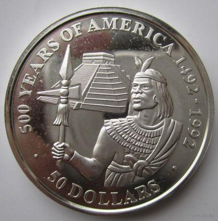 Острова Кука. 50 долларов 1990. Серебро. Пруф. 180